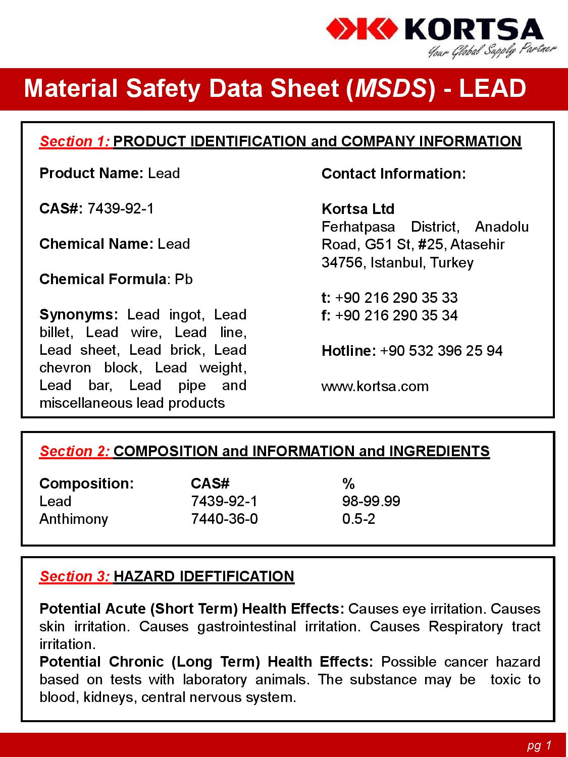 Material Safety Data Sheet image1